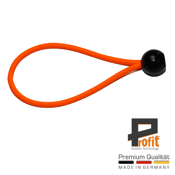 Expander loop with ball 200mm Neon Orange | Tension rubber | Expander loops | Tent rubber | Profit Rubber Technology