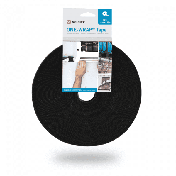 ONE-WRAP® tape of the brand VELCRO® 10mm x 25m on roll black