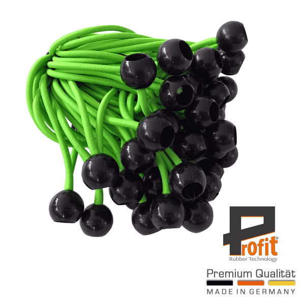 Tension loops with ball 250mm | Neon Green | Neon | Green | Expander Loops | Tension Rubbers | Profit Rubber Technology