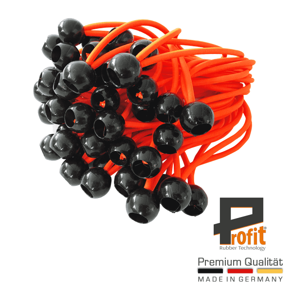 Expander rubbers with plastic ball 250mm neon orange | expander slings | tent slings | tent tensioning rubbers | Profit Rubber Technology