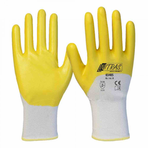 Nitrile gloves polyester white nitrile coating yellow 3/4 coated knitted cuff