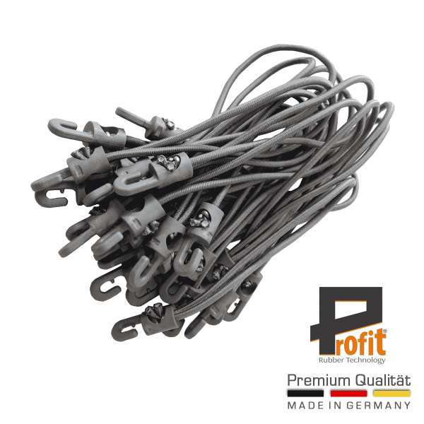 Tension rubber loops with hooks Grey 200mm | Expander Rubbers | Tension Rubbers | Expander Loops | Profit Rubber Technology