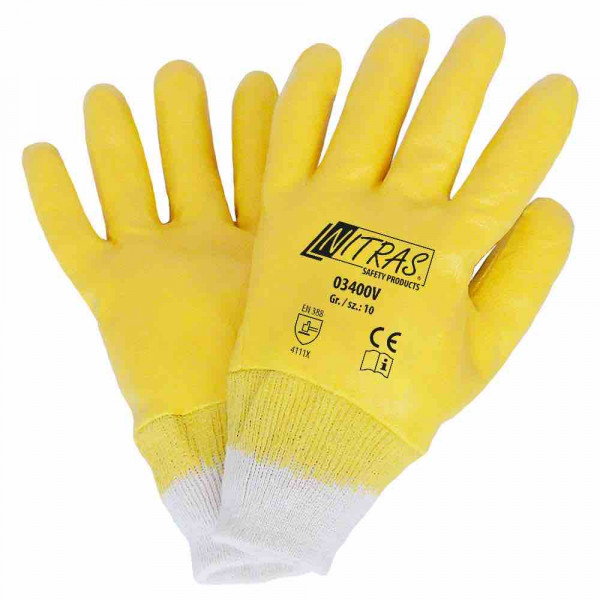 Nitrile gloves cotton tricot natural colour Nitrile coating, yellow fully coated