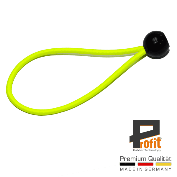 Tent rubber with ball 200mm neon yellow | expander loop | tension loop | expander rubber | tension rubber | Profit Rubber Technology