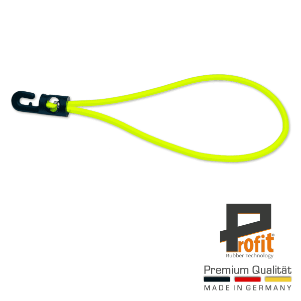 Expander sling with hook 250mm neon yellow | Tarpaulin rubber | Tarpaulin tensioner | Yellow | Neon | Tensioner rubber | Profit Rubber Technology