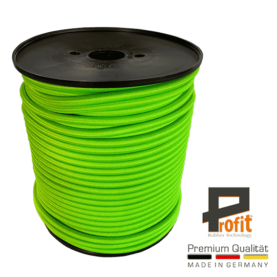 Expander rope - rubber rope neon green 8mm on 100 meter roll
