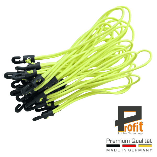 Rubber tensioner with hooks 250mm Neon Yellow | tensioners with plastic hooks | expander slings | tarpaulin hooks | Profit Rubber Technology