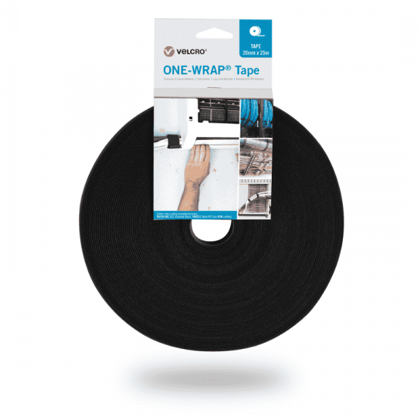 ONE-WRAP® Tape of the brand VELCRO® 20mm x 25m on roll Black